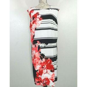 Cream Black Stripes Floral Fit Flare Skater Dress